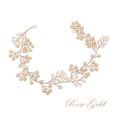 ATHENA COLLECTION - MINI PEARL EMBELLISHED HAIRVINE - (HP139) ROSE GOLD