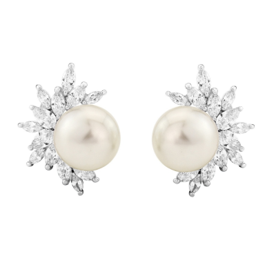 CUBIC ZIRCONIA COLLECTION - DAZZLING PEARL EARRINGS - CZER428