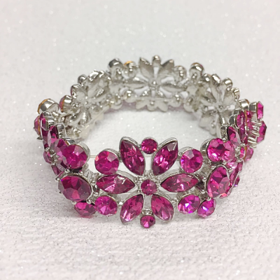SALE ITEM -Opulence Crystal stretch bracelet - Fuchsia  (11)