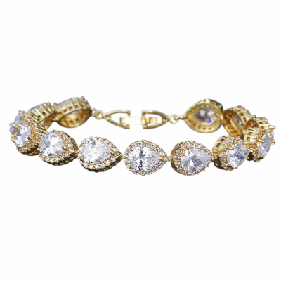 CUBIC ZIRCONIA COLLECTION - EXQUISITE CRYSTAL TREASURE BRACELET - CZBRA27 (GOLD)