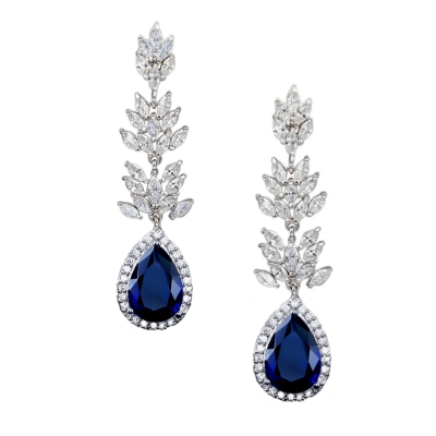 CZ COLLECTION - SPARKLING GLAMOUR EARRINGS - CZER444 SAPPHIRE BLUE