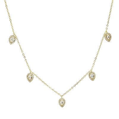 CUBIC ZIRCONIA COLLECTION - CRYSTAL DROP NECKLACE - CZNK116 - GOLD