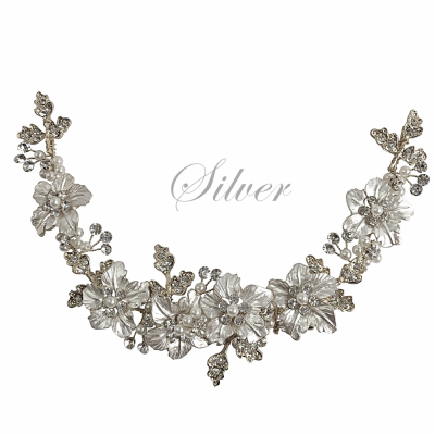 ATHENA COLLECTION - FLORAL ROMANCE EXQUISITE HAIR VINE - (HP153) SILVER