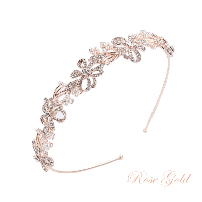 ATHENA COLLECTION - CHIC CRYSTAL TREASURE HEADBAND  AHB-7 ROSE GOLD