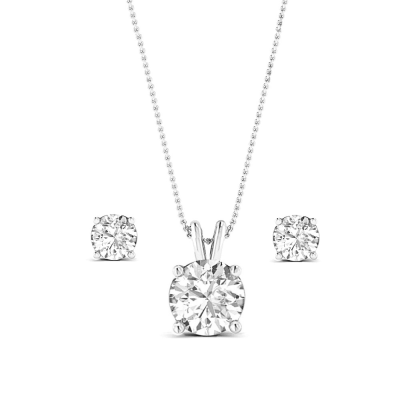CUBIC ZIRCONIA COLLECTION - CLASSIC CRYSTAL NECKLACE SET - CZNK64 (SILVER)