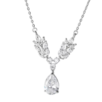 CUBIC ZIRCONIA COLLECTION - VINTAGE VINE NECKLACE - CZNK125 SILVER