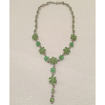 SALE ITEM - CRYSTAL DROP NECKLACE - PERIDOT GREEN - (513)