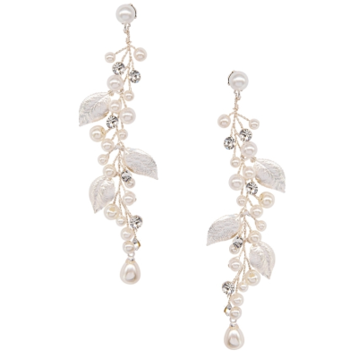 ATHENA COLLECTION - LUXE VINE EARRINGS - CZER584- SILVER