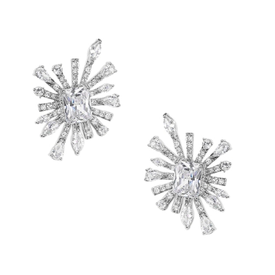 CUBIC ZIRCONIA COLLECTION - CRYSTAL ALLURE EARRINGS - CZER523 SILVER