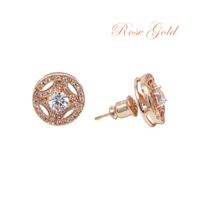 CUBIC ZIRCONIA COLLECTION - MEGHAN SPARKLE EARRINGS - CZER425 ROSE GOLD