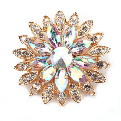 ATHENA COLLECTION - VINTAGE GLAM BROOCH - AB/GOLD BROOCH 163