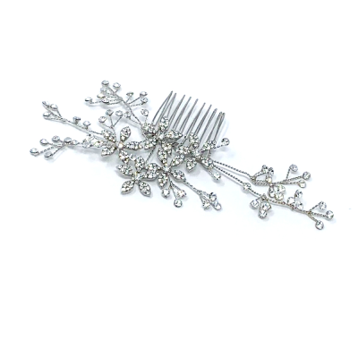 CRYSTAL HAIR COMB - SALE 38 SILVER