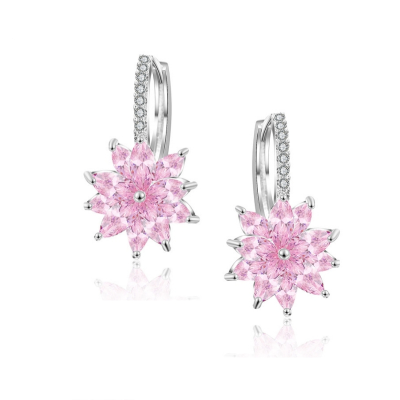 CUBIC ZIRCONIA COLLECTION - PETITE CRYSTAL SPARKLE EARRINGS - CZER461 PINK ROSE
