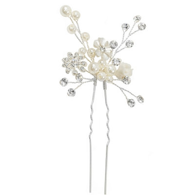 ATHENA COLLECTION - ETERNALLY PEARL HAIR PIN - PIN 36 SILVER