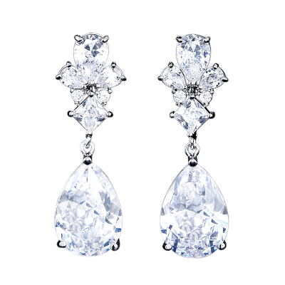 CUBIIC ZIRCONIA COLLECTION - EXQUISITE TEARDROP CRYSTAL EARRINGS - CZER485 SILVER
