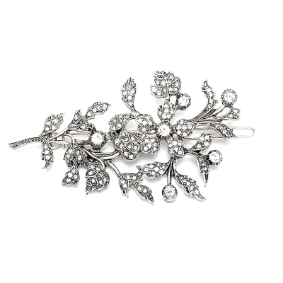 ATHENA COLLECTION - EXQUISTE VINTAGE HAIR CLIP - SILVER  (CLIP 746)