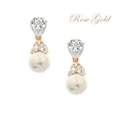 CUBIC ZIRCONIA COLLECTION - GRACEFUL PEARL EARRINGS - ER316 ROSE GOLD