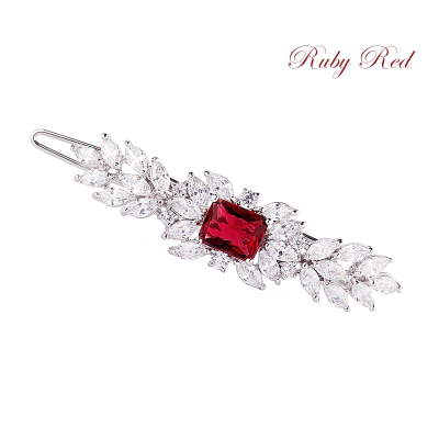 CZ COLLECTION - VINTAGE INSPIRED CRYSTAL CLIP - (CLIP 734) RUBY RED
