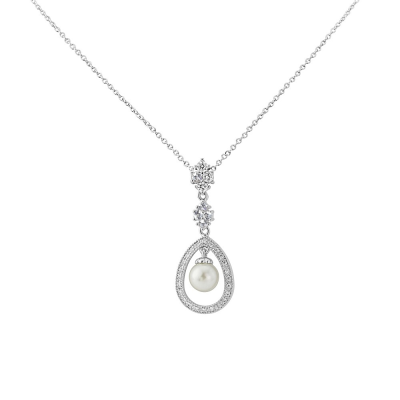 CUBIC ZIRCONIA COLLECTION - SIMPLY DIVINE NECKLACE- SILVER (CZNK68)