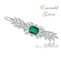 CZ COLLECTION - VINTAGE INSPIRED CRYSTAL CLIP - (CLIP 734) EMERALD GREEN