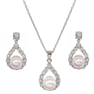 CUBIC ZIRCONIA COLLECTION - PEARL ELEGANCE NECKLACE SET - SILVER (CZNK102)