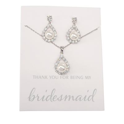 CUBIC ZIRCONIA COLLECTION - BRIDESMAID JEWELLERY NECKLACE SET - CZNK103 (GIFT CARD)  SILVER