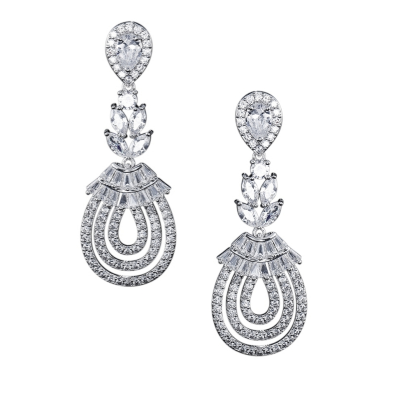 CUBIC ZIRCONIA COLLECTION - GATSBY GLAM EARRINGS - CZER519 SILVER