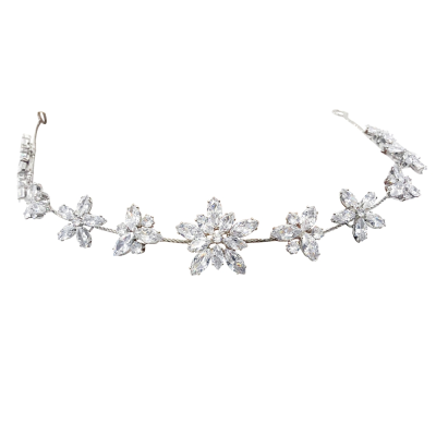 CUBIC ZIRCONIA COLLECTION - STARBURST CRYSTAL VINE - HP166 SILVER