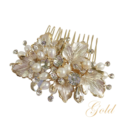 ATHENA COLLECTION - FLORAL ROMANCE CHIC HAIR COMB - HC170 GOLD