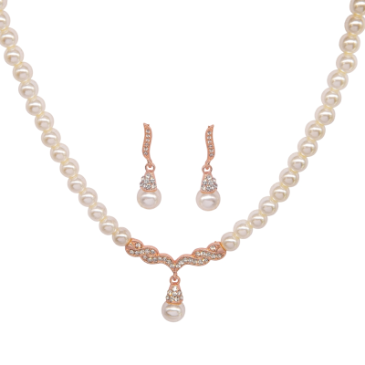 ATHENA COLLECTION - VINTAGE INSPIRED PEARL NECKLACE SET - NK134 ROSE GOLD
