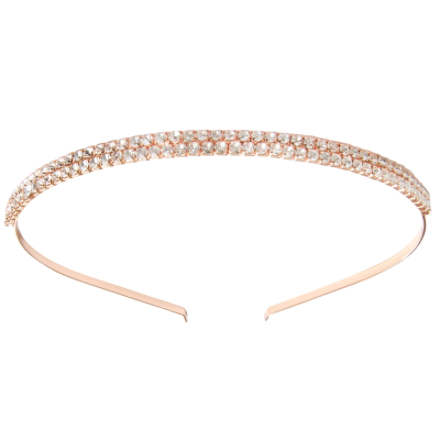 ATHENA COLLECTION - DOUBLE ROW CRYSTAL HEADBAND - ROSE GOLD AHB83a
