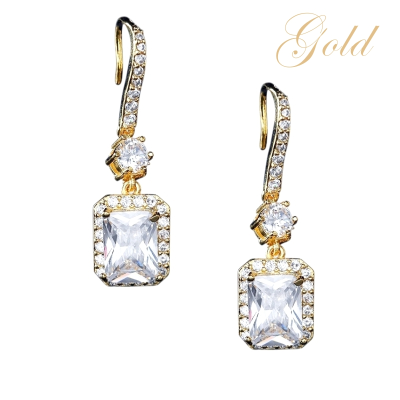 CUBIC ZIRCONIA COLLECTION - CRYSTAL GLAM EARRINGS - CZER513 GOLD