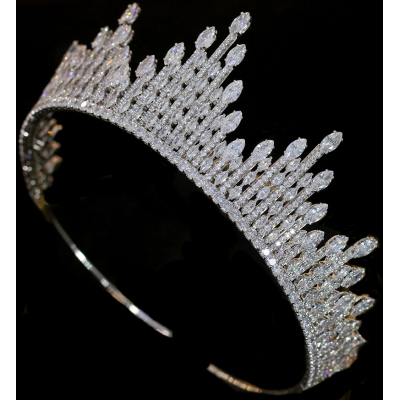CUBIC ZIRCONIA COLLECTION - STARLET CROWN - SILVER AHB-35