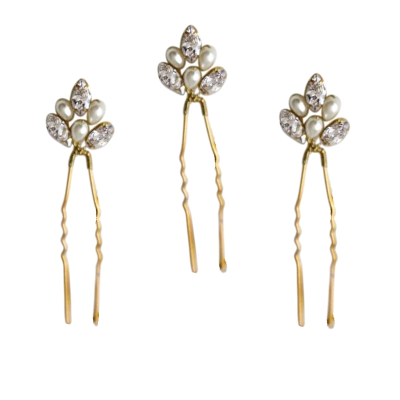 ATHENA COLECTION - CHIC PEARL HAIR PINS SET - PIN45 GOLD