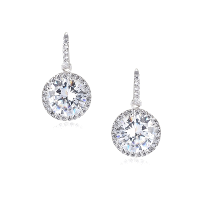 CUBIC ZIRCONIA COLLECTION  - CHIC SPARKLE EARRINGS - CZER555 (SILVER)