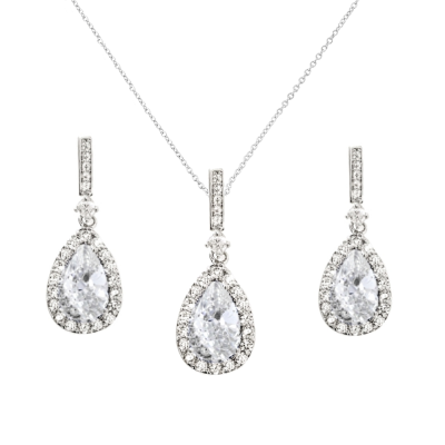 CUBIC ZIRCONIA COLLECTION - CRYSTAL SHIMMER NECKLACE SET  - CZNK98 (SILVER)