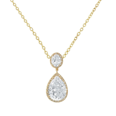 Cubic Zirconia Collection - Sheer Elegance Necklace - GOLD- CZNK53