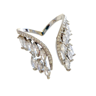 CUBIC ZIRCONIA COLLECTION - ANGEL WINGS ADJUSTABLE RING - SILVER R12