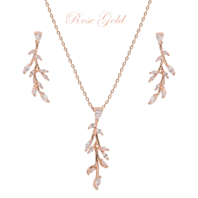 CUBIC ZIRCONIA COLLECTION - DAINTY VINE NECKLACE SET - NK138 ROSE GOLD