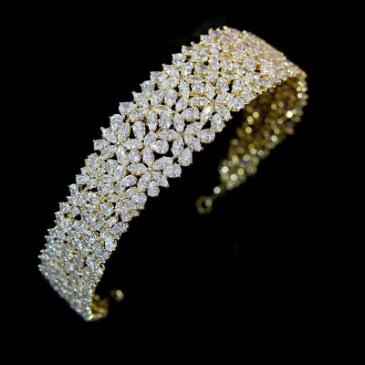 CUBIC ZIRCONIA COLLECTION - EXQUISITE STARLET HEADBAND - -AHB115 GOLD