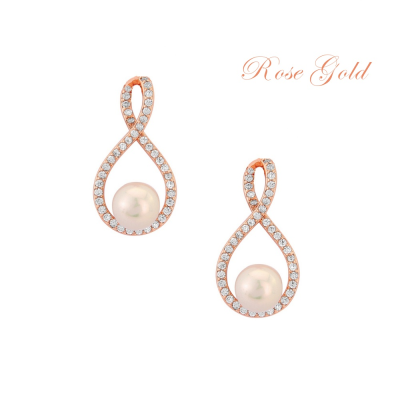 CUBIC ZIRCONIA COLLECTION - EXQUISITE PEARL EARRINGS (ER305) ROSE GOLD