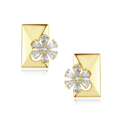 CUBIC ZIRCONIA COLLECTION - DAISY SPARKLE EARRINGS - 18K GOLD PLATED - CZER548