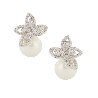 CUBIC ZIRCONIA COLLECTION - CRYSTALLURE PEARL EARRINGS - CZER447 SILVER