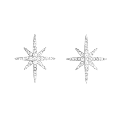 ATHENA COLLECTION - CRYSTAL SPARKLE STAR EARRINGS  - SILVER - CZER521