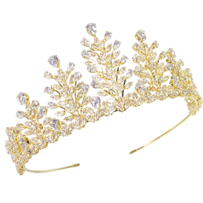 CUBIC ZIRCONIA COLLECTION - CRYSTAL ENCRUSTED TIARA - AHB-25 GOLD