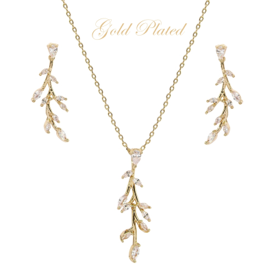 CUBIC ZIRCONIA COLLECTION - DAINTY VINE NECKLACE SET - NK138 GOLD
