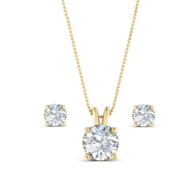 CUBIC ZIRCONIA COLLECTION - CLASSIC CRYSTAL NECKLACE SET - CZNK64 ( GOLD)