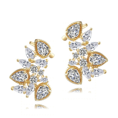 CUBIC ZIRCONIA COLLECTION - STARLET GEM EARRINGS - CZER508 GOLD