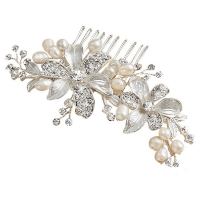 ATHENA COLLECTION - FLORAL ROMANCE HAIR COMB - (HC153) SILVER