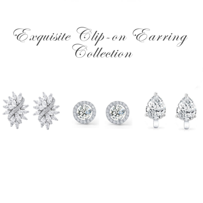 CUBIC ZIRCONIA COLLECTION - Exquisite Clip on Earring Collection